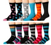 12 Pairs of Excell Mens Designer Cotton Colorful Dress Socks (12 Pairs C) - Mens Dress Sock
