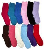12 Units of Yacht & Smith Women's Solid Colored Fuzzy Socks Assorted Colors Size 9-11 - Womens Fuzzy Socks