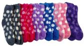 12 Pairs Of excell Womens Butter Soft Polka Dot Printed Fuzzy Socks