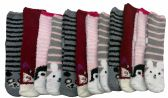 excell Womens Fuzzy Socks Crew Socks, Warm Butter Soft, 12 Pair Pack (Animal Gripper) - Womens Fuzzy Socks