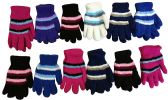 12 Pairs Of excell Ladies Striped Soft Fuzzy Winter Gloves - Fuzzy Gloves