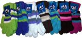 6 Pairs Of excell Ladies Striped Soft Fuzzy Winter Gloves - Fuzzy Gloves