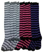12 Pairs of excell women's over the knee thigh high socks, Striped ,Sock Size 9-11 - Womens Knee Highs