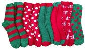 12 Pairs of excell Women's Christmas Holiday Striped Fuzzy Socks, # 24209 - Womens Fuzzy Socks