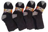 12 Pairs Of excell Kids Cotton Black Ribbed Crew Socks With Gray Heel And Toe - Boys Crew Sock