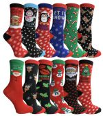 12 Pair excell Ladies Christmas Printed Holiday Socks, Sock Size 9-11 - Womens Crew Sock