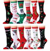 Excell Ladies Christmas Printed Holiday Non Skid Socks (Assorted 12 Pack A) (Assorted 12 Pack A)