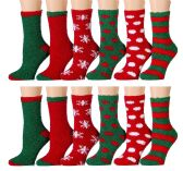 Excell Ladies Christmas Printed Holiday Socks (Assorted 12 Pack A) (Assorted 12 Pack B) - Womens Crew Sock