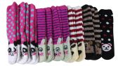 12 Pairs of Women's Striped Animal Fuzzy Socks, Size 9-11 - Womens Fuzzy Socks
