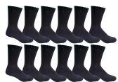 12 Pairs of Excell Girls Athletic Socks, Girls Sport Socks, Girls Cotton Socks (4-6, Black) - Boys Crew Sock