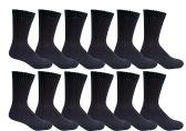 12 Pairs of Excell Youth Girl Socks, Girls Crew Socks, Girls Athletic Socks (6-8, Black)