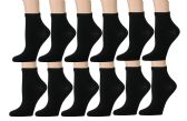 Kid's Ankle Socks, Athletic Sports Running Socks for Boys or Girls (12 Pairs - Many Styles) Quarter Length (6-8, Black)