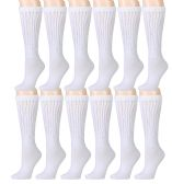 12 Pairs of Slouch Socks for Women, Extra Slouch Ladies Cotton Boot Socks (6 - 12 Pairs) (12 Pairs, White) - Womens Crew Sock