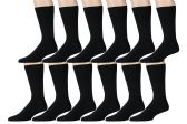 12 Pairs of Mens Dress Socks, Premium Cotton, Stretchy (White or Black) (Black) - Mens Ankle Sock