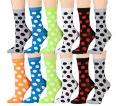 WSD Womens Value Pack Printed Crew Socks Many Colors, Soft Touch Fun Prints (Pack M) - Womens Crew Sock