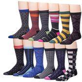 Men's Pattern Dress Socks Cotton Blend Colorful Designes (3400) - Mens Dress Sock
