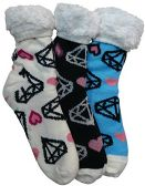 3 Pairs of Sherpa Fleece Lined Slipper Socks, Gripper Bottoms, Best Warm Winter Gift (Diamonds & Hearts) - Womens Sherpa Socks