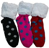 3 Pairs of Sherpa Fleece Lined Slipper Socks, Gripper Bottoms, Best Warm Winter Gift (Polka Dots) - Womens Sherpa Socks
