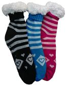 3 Pairs of Sherpa Fleece Lined Slipper Socks, Gripper Bottoms, Best Warm Winter Gift (Festive Assorted) - Womens Sherpa Socks