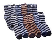 Man's Fuzzy Socks Striped Super Soft Warm Size 10-13 (12 Pair) - Mens Crew Socks
