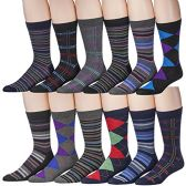 Men's Pattern Dress Socks Cotton Blend Colorful Designes Size 10-13 (12 Pair) (2600) - Mens Dress Sock