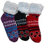 3 Pairs of Sherpa Fleece Lined Slipper Socks, Gripper Bottoms, Best Warm Winter Gift (Diamonds & Stripes)