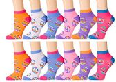 12 Pairs of WSD Womens Ankle Socks, Cotton No Show, Many Colorful Patterns (Pack A) - Womens Ankle Sock