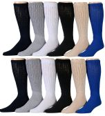 Slouch Socks for Men, Extra Slouch Cotton Boot Socks  (6 Pairs, Assorted) - Mens Crew Socks