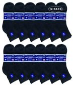 12 Units of 12 Pairs of SOCKSNBULK Mens Diabetic Ankle Socks, Low Cut Athletic Sport Sock (Black) - Men's Diabetic Socks
