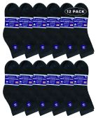 12 Units of SOCKSNBULK Womens Diabetic Ankle Socks, Low Cut Athletic Sport Sock (Black) - Women's Diabetic Socks
