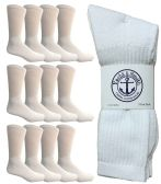 12 Units of Yacht & Smith Men's King Size Premium Cotton Crew Socks White Size 13-16 - Big And Tall Mens Crew Socks