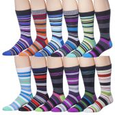 12 Pairs of excell Mens Striped Colorful Dress Socks, Cotton Blend, #2900 - Mens Dress Sock