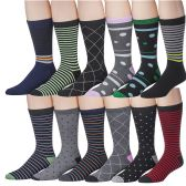 Men's Pattern Dress Socks Cotton Blend Colorful 12 Designes Size 10-13 (12 Pair) (310) - Mens Dress Sock