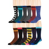 Men's Pattern Dress Socks Cotton Blend Colorful 12 Designes Size 10-13 (12 Pair) (3400) - Mens Dress Sock