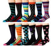 Men's Pattern Dress Socks Cotton Blend Colorful 12 Designes Size 10-13 (12 Pair) (3500) - Mens Dress Sock