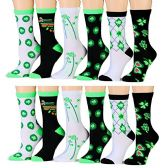 12 Pairs Of excell Ladies Saint Patrick Day Printed Socks, #STPatty - Womens Crew Sock