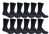 12 Pairs of Excell Boys Youth Value Pack Cotton Sports Athletic Childrens Socks (6-8, Black) - Boys Crew Sock