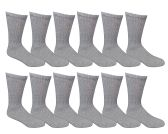 12 Pairs of Excell Youth Boy Socks, Cotton Socks for Boys (6-8, Gray) - Boys Crew Sock