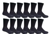 12 Pairs of Excell Youth Girl Socks, Girls Crew Socks, Girls Athletic Socks (9-11, Black) - Girls Crew Socks