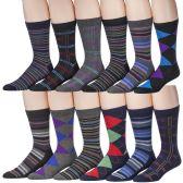 12 Pairs Of excell Men's Designer Cotton Blend Mix Patterns Dress Socks, # 2600 - Mens Dress Sock