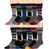 12 Pairs of excell Mens Colorful Designer Dress Socks, Cotton Blend - Mens Dress Sock