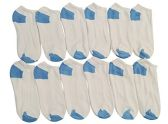 Kids Low Cut Socks Cotton No Show Ankle Socks (12 Pairs - Styles for Girls and Boys) (6-8, White w/ Blue Heel & Toe)