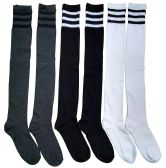 6 Pairs excell Ladies Knee High Referee Socks for Ladies Size 9-11 - Girls Knee Highs