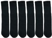 6 Pairs of excell Children's Cotton Tube Socks, Black, Boys Girls, Size 6-8 - Boys Crew Sock