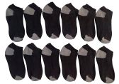12 Pairs Of excell Kids Black No Show Cotton Ankle Socks With Color Heel And Toe (Size 6-8) - Girls Ankle Sock