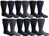12 Pair Pack Of excell Mens Heat Retainer Winter Thermal Socks, Brushed Inside