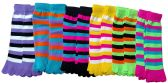 12 Pair Of excell Ladies Neon Striped Fashion Toe Socks #901 - Womens Fuzzy Socks