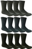 12 Pairs of excell Men's Thermal Winter Boot Socks, Assorted Dark colors, Size 10-13 - Mens Thermal Sock