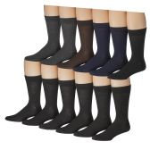 12 Pairs of Mens Solid Executive Dress Socks, Cotton Blend, Sock Size 10-13 - Mens Dress Sock