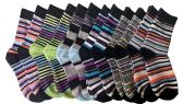 excell Boys Dress Socks, 12 pairs, Striped Colorful Fancy Cotton Socks (5-6)